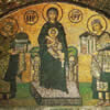 The mosaic in St. Sophia depicting the Emperors Justinian and Constantine, offering a model of the Church of St. Sophia and the city of Constantinople to Virgin Mary