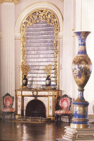 A Fireplace in main entrance hall and a Yildiz vase signed by Halit