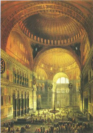 Interior of the Hagia Sophia from Fossati Album, 19th century