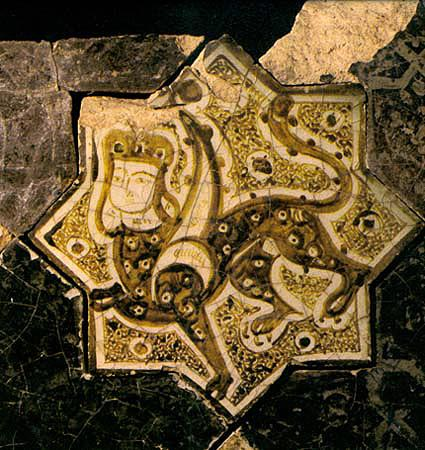 Sphinx On A Star Shaped Tile, Lustre Technique, Kubadabad Palace