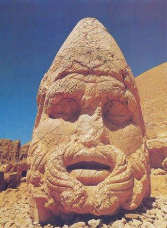 Head of Zeus-Oromasdes on the West terrace, Mount Nemrut